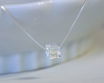 Bridesmaid Necklace, Clear Crystal Necklace, Wedding Necklace, Swarovski Cube Necklace, Sterling Silver Necklace, Will You Be My Bridesmaid