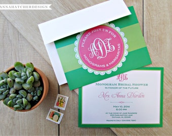 Monogram Shower Invitations - Monograms and Margaritas / Mimosas - Any Color - DIY Printable or High Quality Printed Invitations