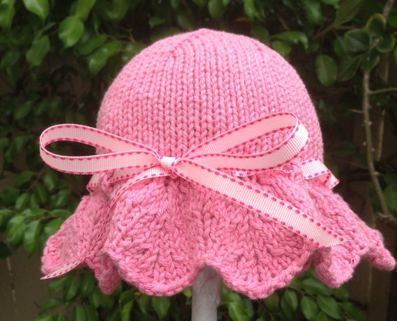 Sweet Hand Knit Baby Girl Sun Hat  / Sunhat Pink With Pink Grosgrain Ribbon Bow