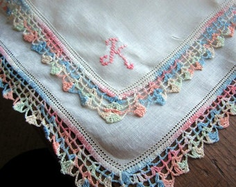 "Vtg  White  Hanky/Handkerchief  Embroidered ""K""  Pink Monogram Pastel Colored  Crocheted Edging"