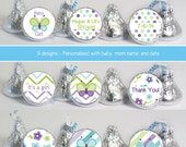 baby shower favors (No.k48) butterfly girl chevron stripes flowers purple green candy stickers