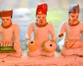 Musicians - painted clay figurines - Turkish - miniatures
