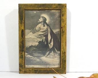 Vintage Religious Icon Kodak Printing Frame Jesus Praying