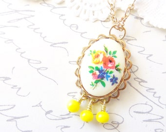 Beaded Flower Cameo Necklace - Whimsy - Whimsical - Romance - Bridal