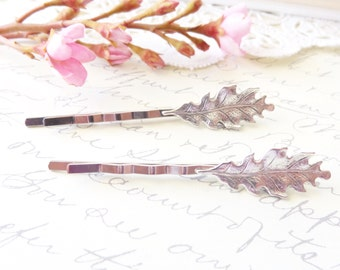 Sterling Silver Plated Leaf Bobby Pins - Oak Leaf - Petit Hair Pins - Woodland Collection - Whimsical - Nature - Bridal