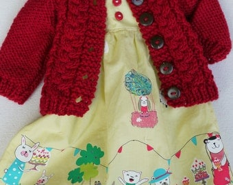 Waldorf Girl Doll Clothes - Dress & Sweater fit 15,16 inch dolls yellow-red-white