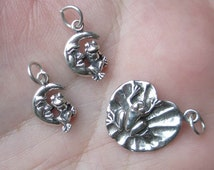 Sterling Silver Frog on A Lilypad or Frog on Moon Charm - You choose which one