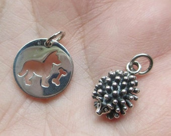 Sterling Silver Hedgehog, or Dog with Bone Charm(one charm)You choose which one