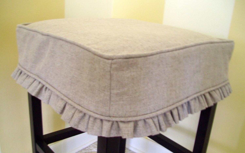 Square Bar Stool Cover Barstool Slipcover Tan Linen Ruffled