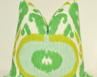 Green Ikat Pillow Cover, Decorative Pillow, Throw Pillow, Toss Pillow, Sofa Pillow, Green Ikat, Chartreuse, Home Decor, Home Furnishing