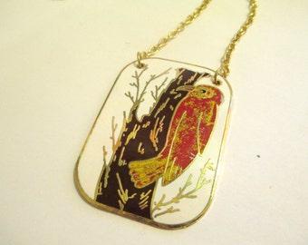 Vintage 70s Enamel Bird Necklace DEADSTOCK