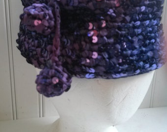 Vintage Sequined Ombre Blue Violet Hat