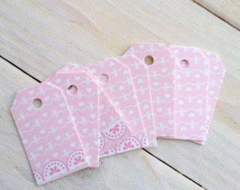 Pink Hearts Gift tags, Shipping Tags, Wedding Favor Tags, Thank You Cards, Escort Tags