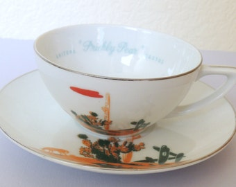 1959 Prickly Pear Cactus Blakely Arizona Cactus Cup and Saucer