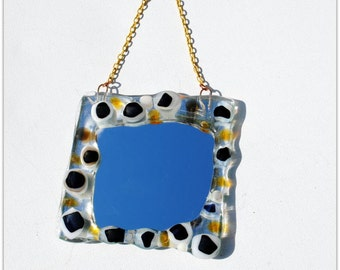 Sweet Amber, Brown and White small and chunky Fused glass Mirror