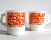 Anchor Fire King 312 Mug Cup Orange White Apples  Flowers Gingham pattern