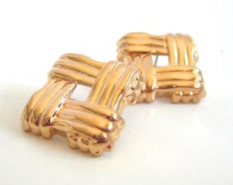 Vintage 80's Avon // Gold Woven Earrings