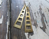 big brass earrings, geometric, minimalist, handmade.
