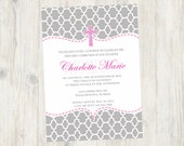 Gray and Pink Quarterfoil Baptism, Dedication, First Communion invitation Announcement - Print Your Own