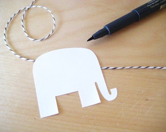36 White Mr. Elephant  Stickers - Bright White - tags, labels, name tags
