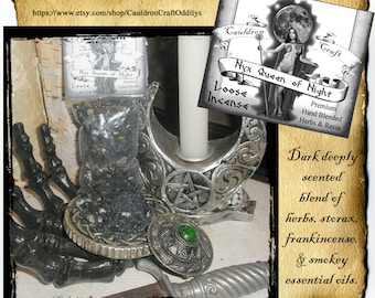 Nyx Queen of the Night Incense 2oz - hand blended loose resin, herbs, essential oils