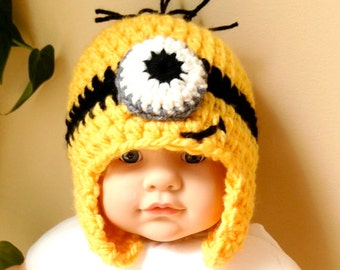 Despicable Me Minions Hat Crochet Beanie, Steelers Fan colors, Ear Flaps Girl Boy Baby, Yellow, Soft, Warm, Baby Gifts, Football JE693F2