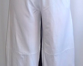 Coco and Juan Plus Size Lagenlook  White Cotton Knit  Wide Leg Pant  Size 2 fits  3X,4X