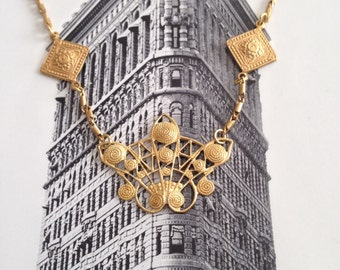 American brass filligree necklace, hand rubbed and made with love.