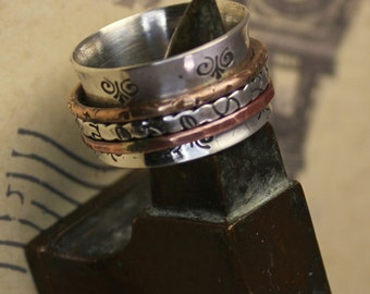 "Spinner Ring ""Serenity"" with Copper & Bronze"