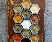 MEDIUM RUSTED Wall Plate. Create a hanging spice rack with this rustic wall mounted board. Jars not included.