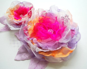 Lavender Orange Pink  Bridal Hair Flowers, Weddings Hair Accessory, Bridal Corsage, Fascinator, Flowers for Sash, Bridesmaids Hair Clips