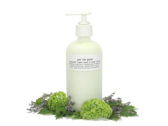 Vegan Hand and Body Lotion in Large Reuseable Glass Bottle with Pump