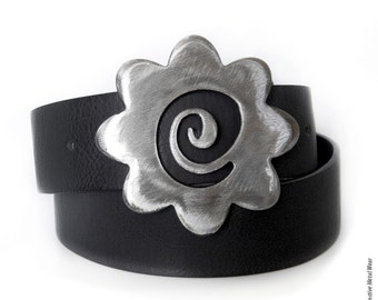 Forever Spiral Flower Metal Belt Buckle by WATTO Distinctive Metal Wear