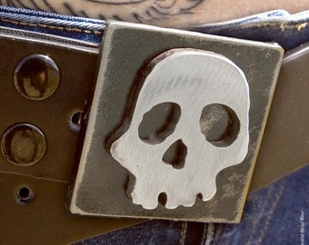Skull Belt Buckle/ by WATTO Distinctive Metal Wear/ Rocker/ Metal Buckle/  Mens Snap-On Belt Buckle/ Womens Cool Belt Buckle/ Halloween