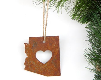 Rustic Arizona Heart State Ornament by WATTO Distinctive Metal Wear /  Christmas Ornament / Arizona State/ Arizona Ornament/ Arizona Love