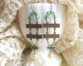 earrings found object assemblage fall green