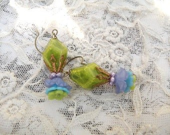 upcycled bead earrings assemblage eco friendly green floral dangles flower cottage chic