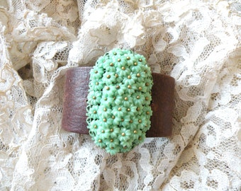 spring cuff floral bracelet leather assemblage upcycle pin