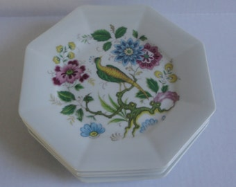 Set of 4  House of Prill Porcelain Bird of Paradise Bread Plates. Octagon Shaped.