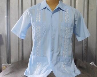 SKY BLUE Tropi Club Guayabera Vintage 1980s L