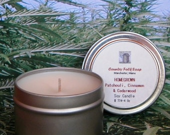 HOMEGROWN Patchouli, Cinnamon & Cedarwood Soy Candle Tin - Hand Poured Candles