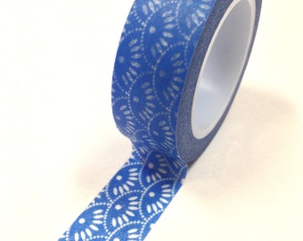Washi Tape - 15mm - White Dots and Dashes on Blue - Deco Paper Tape No. 662