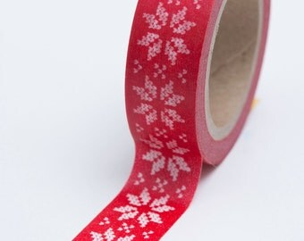 Washi Tape - 15mm - White Poinsettia Cross Stitch on Red - Deco Paper Tape No. 696