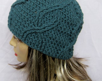 CROCHET PATTERN PDF- Crocheted Unisex Blue Cabled Beanie -can sell finished pieces, women's hat, men's beanie, instant download, yarntwisted