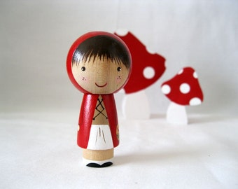Little Red Riding Hood goes to Grandma's Kokeshi Peg Doll