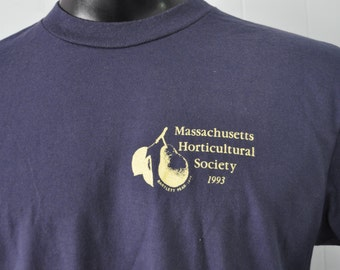 Vintage Tshirt Massachusetts Horticultural Society MA 1993 Barlett Pear Worcester MA Navy Blue LARGE