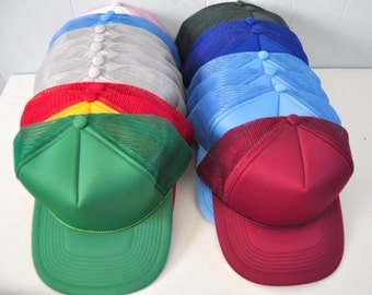 Pick a Cap Plain Classic Perfect for Upcycling Personalization Vintage Baseball Trucker Hat 80s Mesh Bright Colors