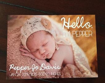 DIY Photo Baby Announcement Thank You Card- Hello