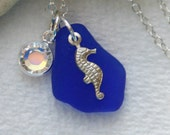 Summer Seahorse. Rare Cobalt Blue Seaglass with Seahorse Charm & Swarovski Crystal on Sterling Necklace
