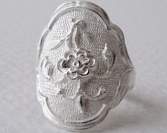 Unisex Ring Peony Chasing Opened Ring Sterling Silver Peony Ring